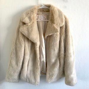 Jackets & Blazers - CREAM FAUX FUR JACKET SIZE M